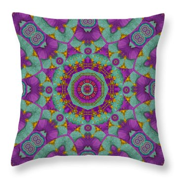 Water Garden Lotus Blossoms In Sacred Style Throw Pillow