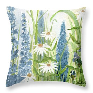 Watercolor Blue Flowers Throw Pillow