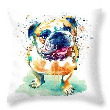 Watercolor Bulldog Throw Pillow
