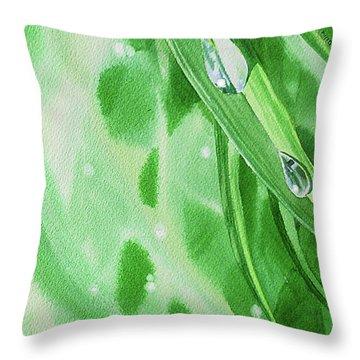 Watercolor Dew Drops Throw Pillow