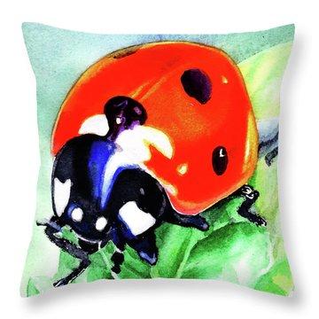 Watercolor Ladybug Throw Pillow