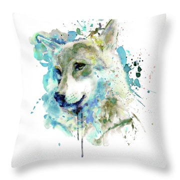 Watercolor Wolf Portrait Throw Pillow