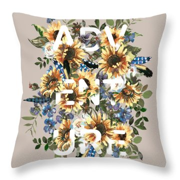Throw Pillow featuring the painting Watercolour Sunflowers Adventure Typography by Georgeta Blanaru