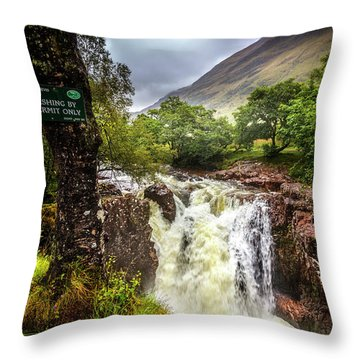 Waterfall At The Ben Nevis Mountain Throw Pillow