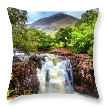 Waterfall Beneath The Ben Nevis Mountain Throw Pillow