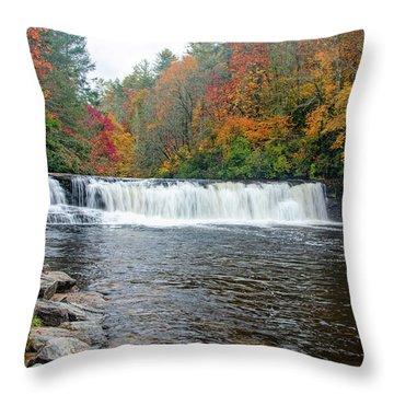Waterfall In Autumn Throw Pillow