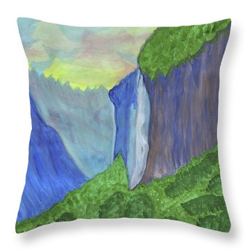 Throw Pillow featuring the painting Waterfall In The Mountains by Dobrotsvet Art