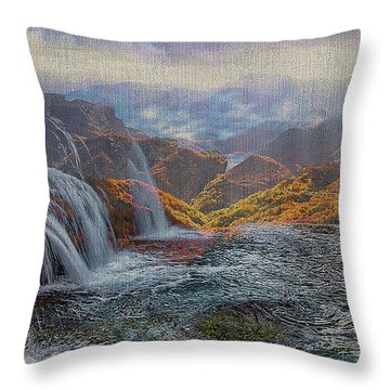 Waterfalls In The Mountains Throw Pillow