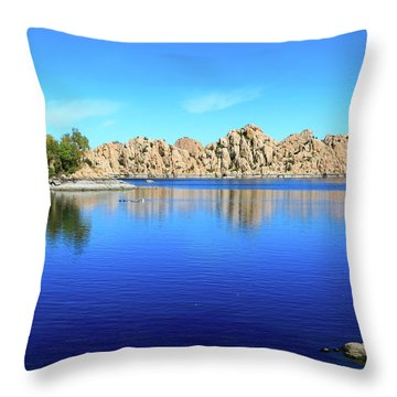 Watson Lake And Rock Formations Throw Pillow