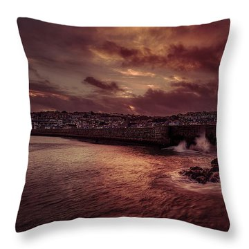 Wave At The Pier Throw Pillow