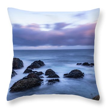 Waves At The Shore In Vesteralen Recreation Area Throw Pillow