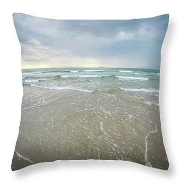 Throw Pillow featuring the photograph Waves Crashing On Wrightsville Beach Before The Storm by Alex Grichenko