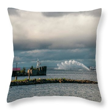 Wawatam Lighthouse Throw Pillow
