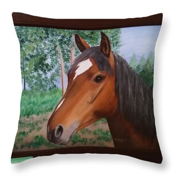 Wayne's Horse Throw Pillow