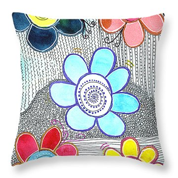 Throw Pillow featuring the drawing We Are All The Same, But Different by Bee-Bee Deigner