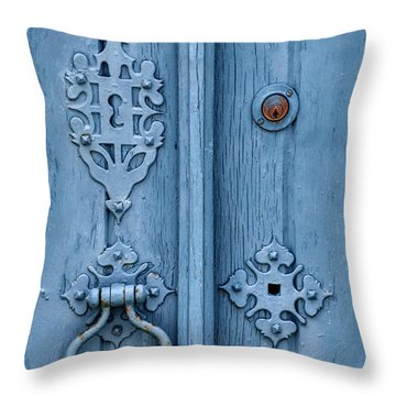 Weathered Blue Door Lock Throw Pillow