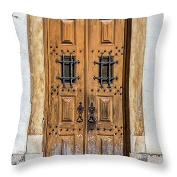 Weathered Brown Door Of Portugal Throw Pillow