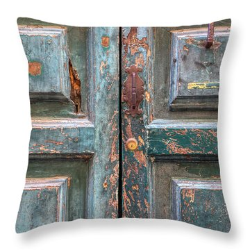 Weathered Rustic Green Door Of Cortona Throw Pillow