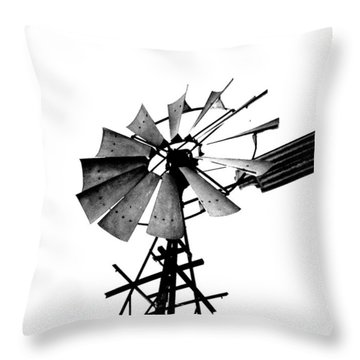 Weathered Windmill - B-w Throw Pillow