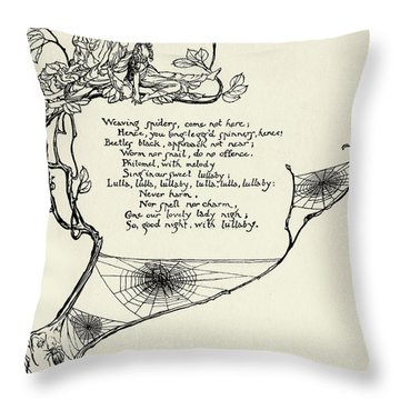 Weaving Spiders Come Not Here Throw Pillow