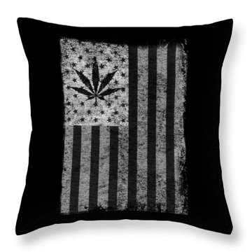 Weed Leaf American Flag Us Throw Pillow