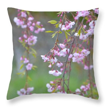 Throw Pillow featuring the photograph Weeping Cherry Blossoms by SimplyCMB