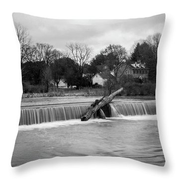 Wehr's Dam - Black And White Throw Pillow