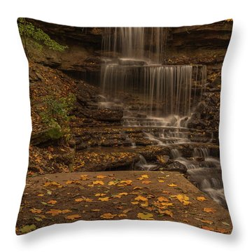 Throw Pillow featuring the photograph West Milton Falls In Autumn by Dan Sproul