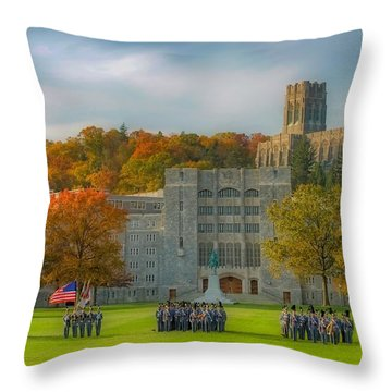 West Point In Autumn Throw Pillow