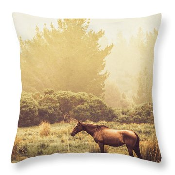 Western Ranch Horse Throw Pillow