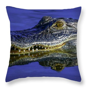 Throw Pillow featuring the photograph Wetlands Gator Close-up by Tom Claud
