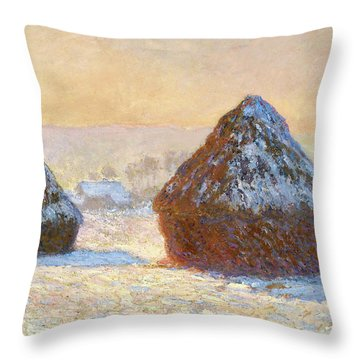 Wheatstacks, Snow Effect, Morning - Digital Remastered Edition Throw Pillow