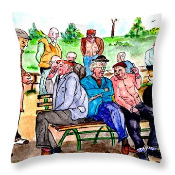 When Park Benches Were Filled With People Throw Pillow