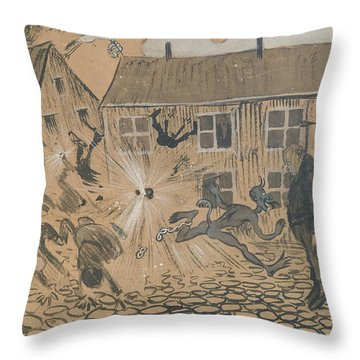 Throw Pillow featuring the drawing When The Beast Is Loose by Ivar Arosenius