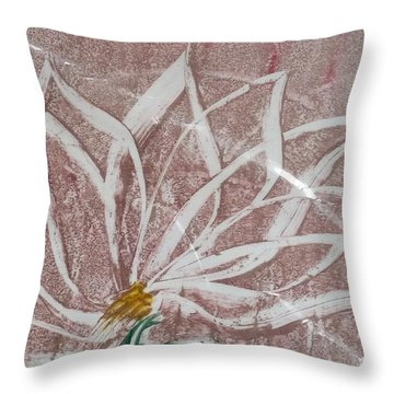 White Abstract Floral On Silverpastel Pink Throw Pillow