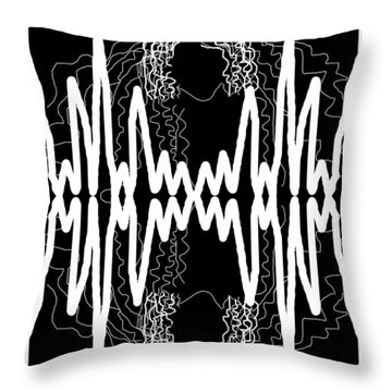 White And Black Frequency Mirror Throw Pillow