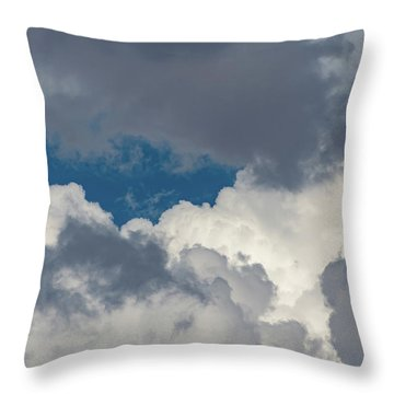 White And Gray Clouds Throw Pillow
