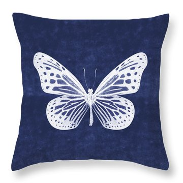 White And Indigo Butterfly- Art By Linda Woods Throw Pillow