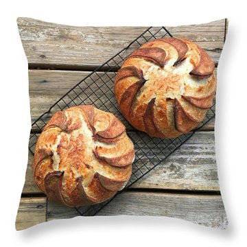 White And Rye Sourdough Swirls Throw Pillow