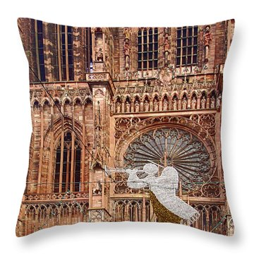 White Angel Decorations On Shops At The Christmas Market Throw Pillow