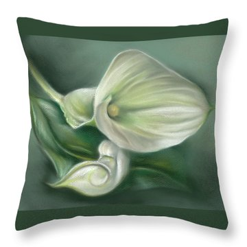 White Callas With Leaf Throw Pillow