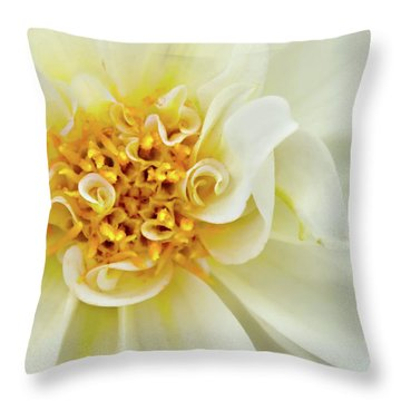 Throw Pillow featuring the photograph White Dahlia Curls by Mary Jo Allen