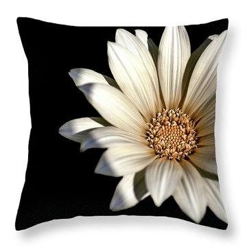 White Daisy On Black Throw Pillow
