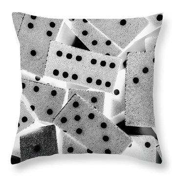 White Dots Black Chips Throw Pillow