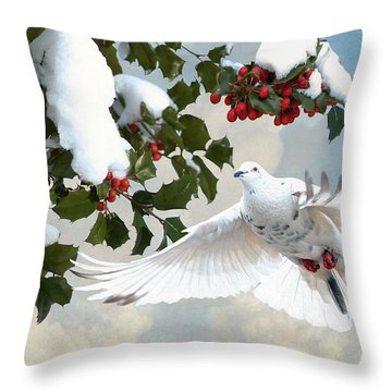 White Dove And Holly Throw Pillow