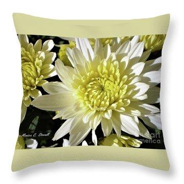 White Flowers W8 Throw Pillow