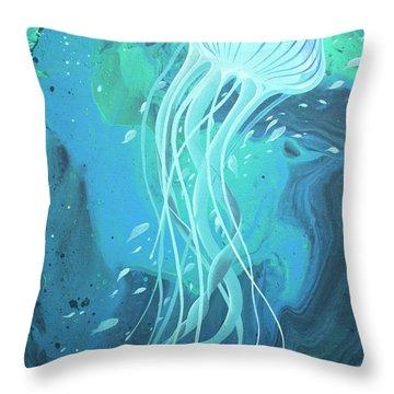 White Jellyfish Throw Pillow