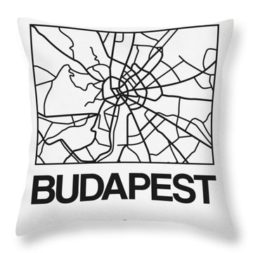 White Map Of Budapest Throw Pillow