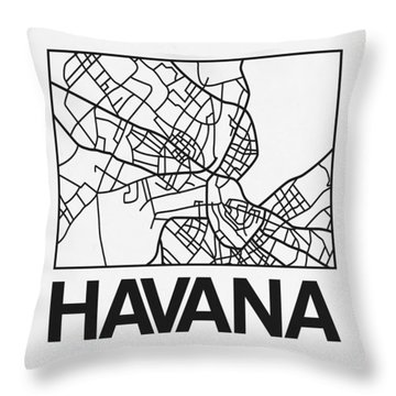 White Map Of Havana Throw Pillow