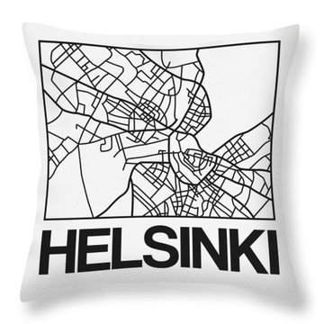White Map Of Helsinki Throw Pillow